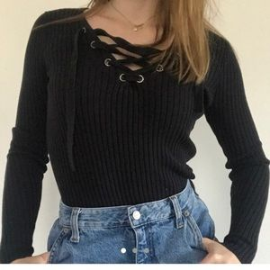 Hollister Lace Up Sweater